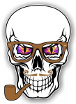 GOTHIC Hipster SKULL With PURPLE Evil Eyes and Pipe & Glasses Motif External Vinyl Car Sticker 100x70mm